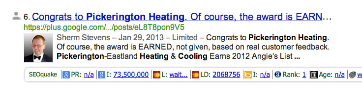 Example of rich snippets, or microdata data appearing in Google search results.