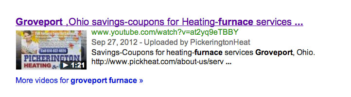 Example of a video snippet appearing in Google search results.